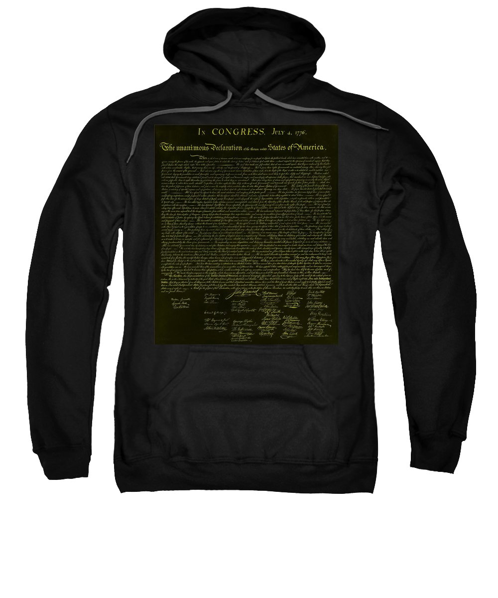 The Declaration Of Independence Sweatshirt featuring the photograph The Declaration Of Independence In Negative Yellow by Rob Hans
