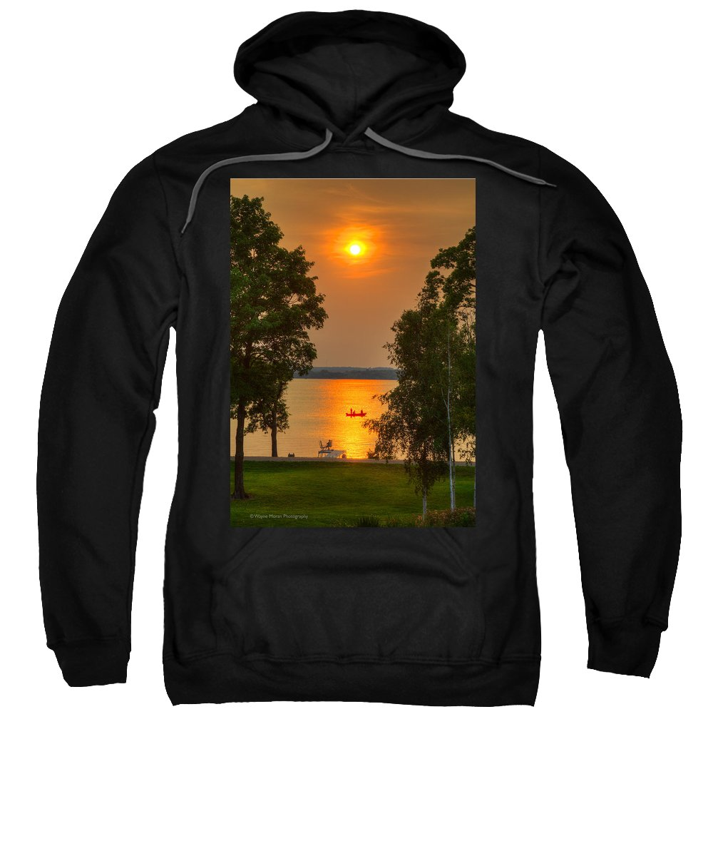 At The Lake Sweatshirt featuring the photograph The End Of A Perfect Day by Wayne Moran