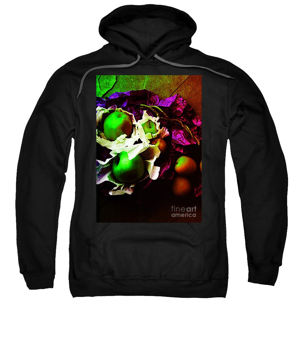 Apples Image Sweatshirt featuring the digital art The Forbidden Fruit II by Yael VanGruber