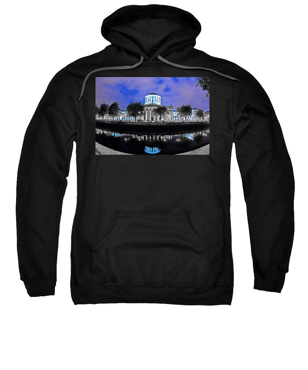 The Four Courts Sweatshirt featuring the painting The Four Courts 5 - Dublin Ireland by Alex Art and Photo