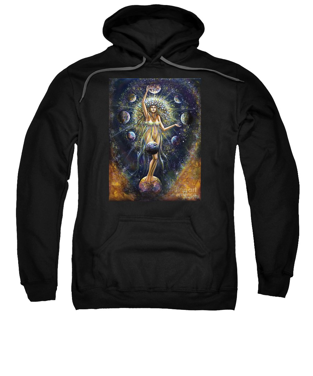 Surrealism Sweatshirt featuring the painting The Galaxy Creation by Serge M