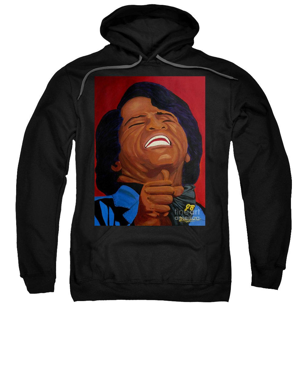 James Brown Sweatshirt featuring the painting The Godfather Of Soul by Anthony Dunphy