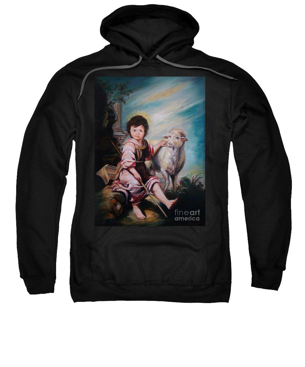 Classic Art Sweatshirt featuring the painting The Good Shepherd by Silvana Abel