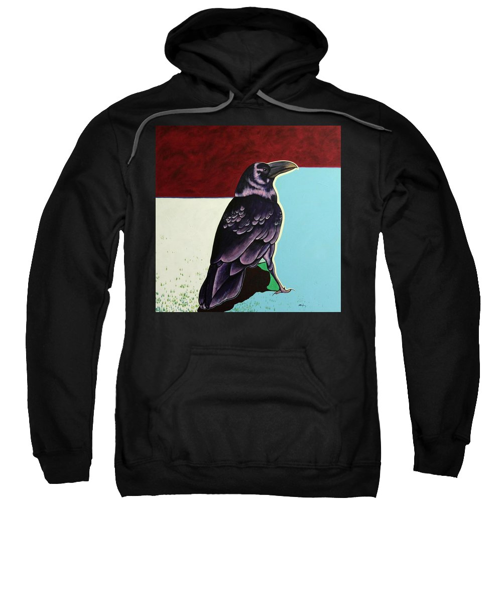 Wildlife Sweatshirt featuring the painting The Gossip - Raven by Joe Triano
