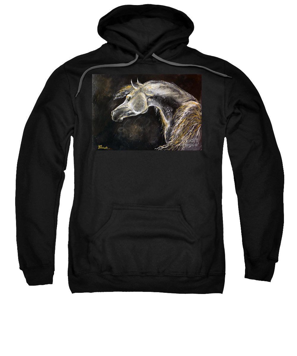 Horse Sweatshirt featuring the painting The Grey Arabian Horse 9 by Angel Ciesniarska