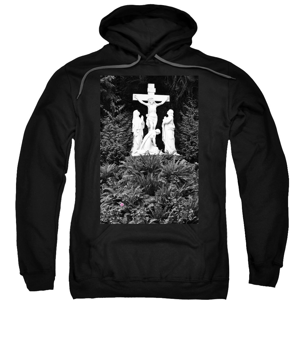 Portland Sweatshirt featuring the photograph The Grotto - Calvary Scene - Pink Flower by Image Takers Photography LLC - Carol Haddon
