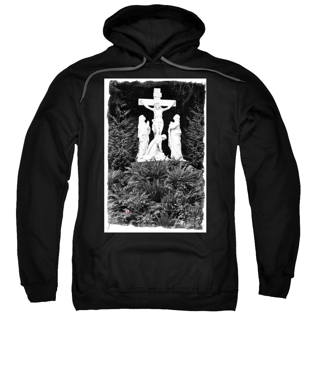 Portland Sweatshirt featuring the photograph The Grotto - Calvary Scene With Border by Image Takers Photography LLC - Carol Haddon
