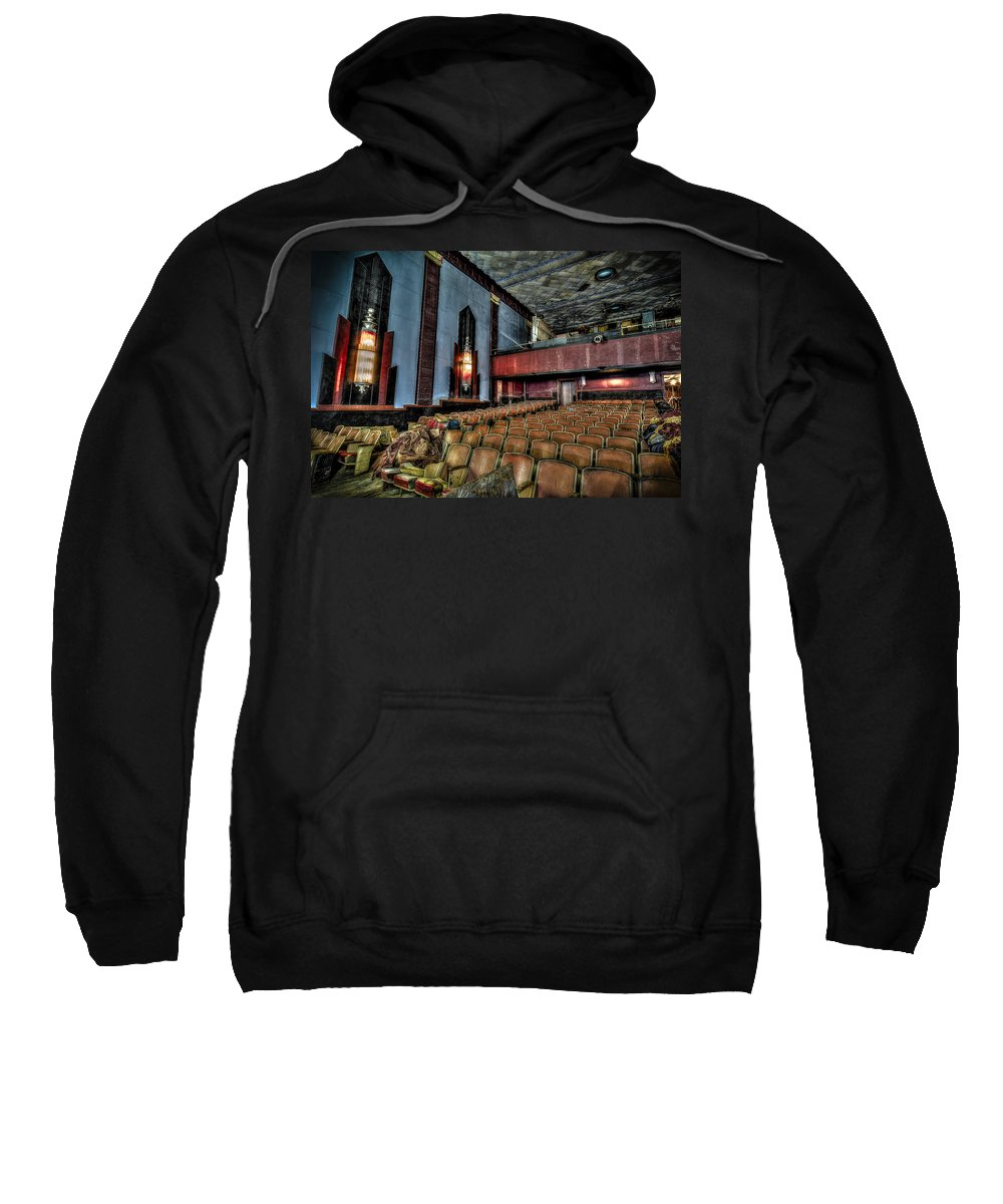 Cole Theater Sweatshirt featuring the photograph The Haunted Cole Theater by David Morefield