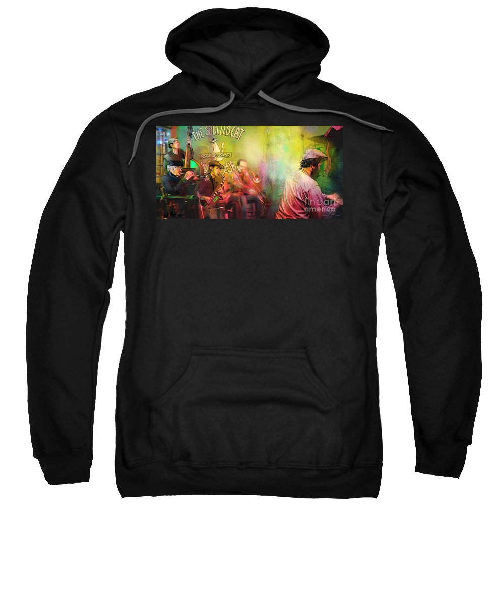 Music Sweatshirt featuring the painting The Jazz Vipers In New Orleans 03 by Miki De Goodaboom