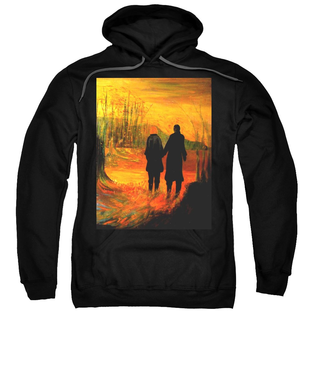 Partners Sweatshirt featuring the painting The Journey by Carolyn LeGrand