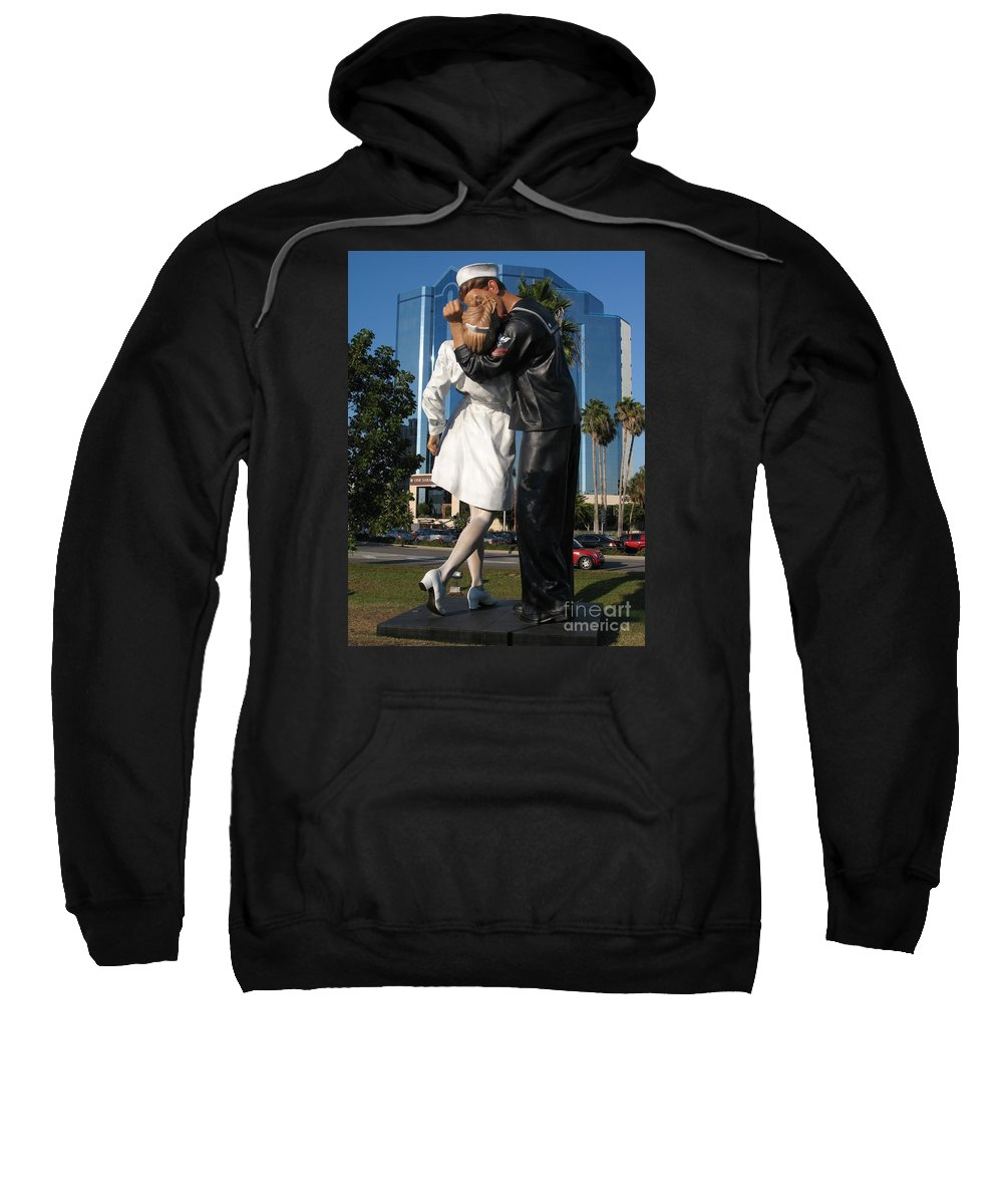 Sailor Sweatshirt featuring the photograph The Kiss - Sailor And Nurse - Sarasota by Christiane Schulze Art And Photography