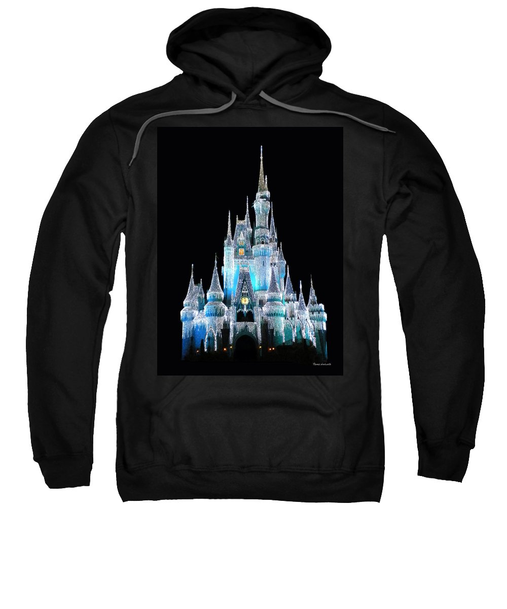 Magic Kingdom Sweatshirt featuring the photograph The Magic Kingdom Castle In Frosty Light Blue Walt Disney World by Thomas Woolworth
