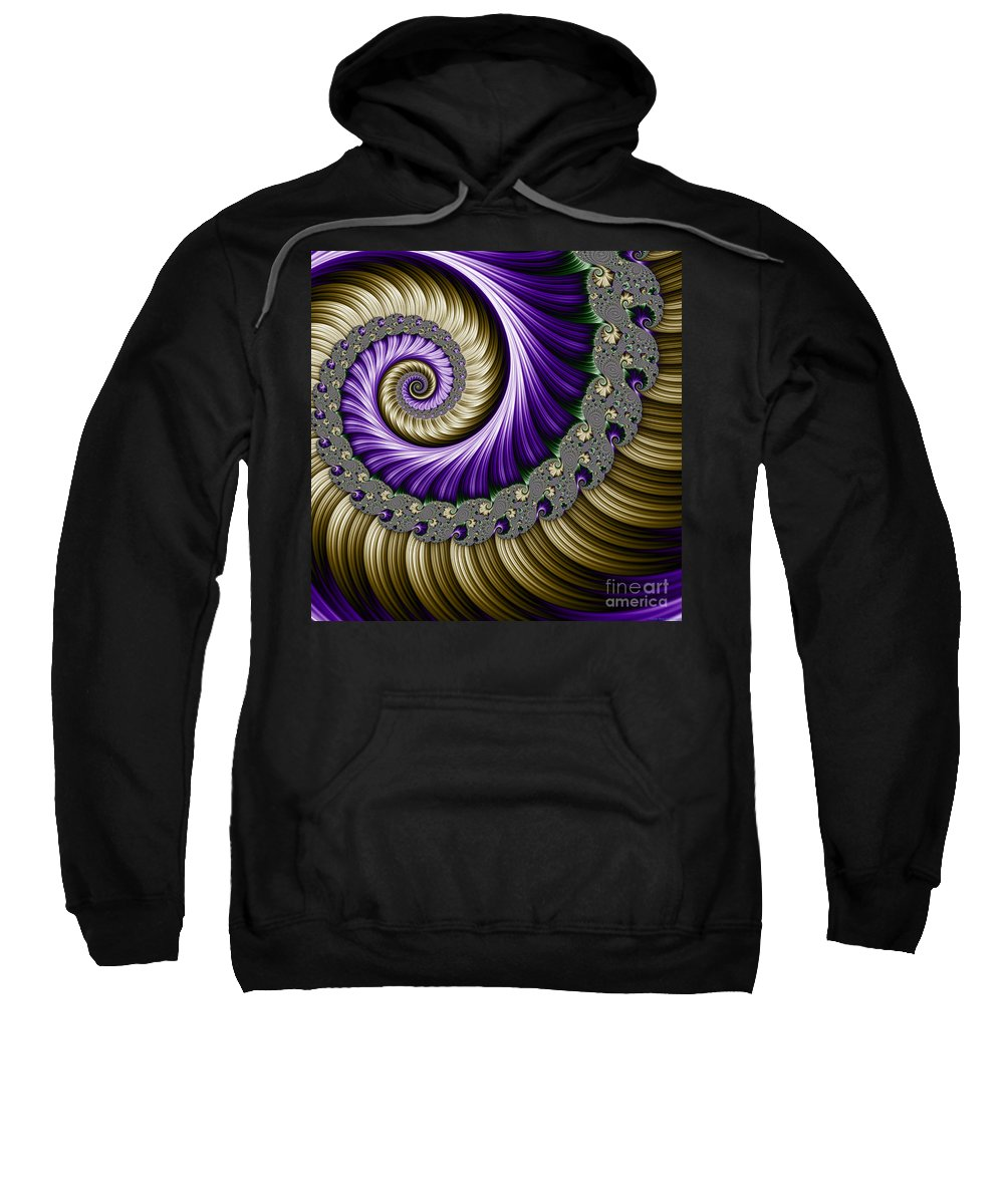 Fractal Sweatshirt featuring the digital art The Magic Shell by Mary Machare