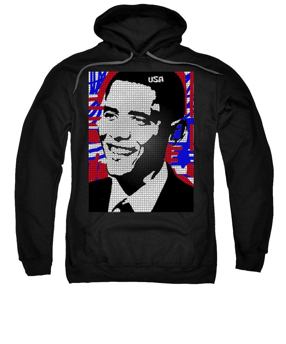 The President Sweatshirt featuring the painting The Man Who Killed Osama by Robert Margetts