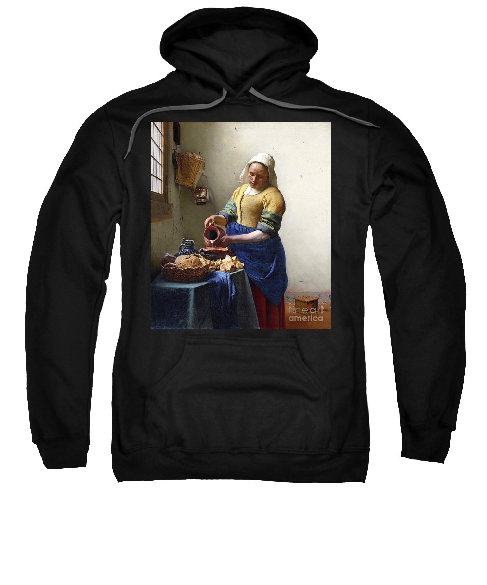 Female Portrait; Kitchen; Scullery; Interior; Bread Basket; Table; Loaf; Bonnet; Servant; Pouring; Milk; Maid; Domestic; Rustic; La Laitiere Sweatshirt featuring the painting The Milkmaid by Jan Vermeer