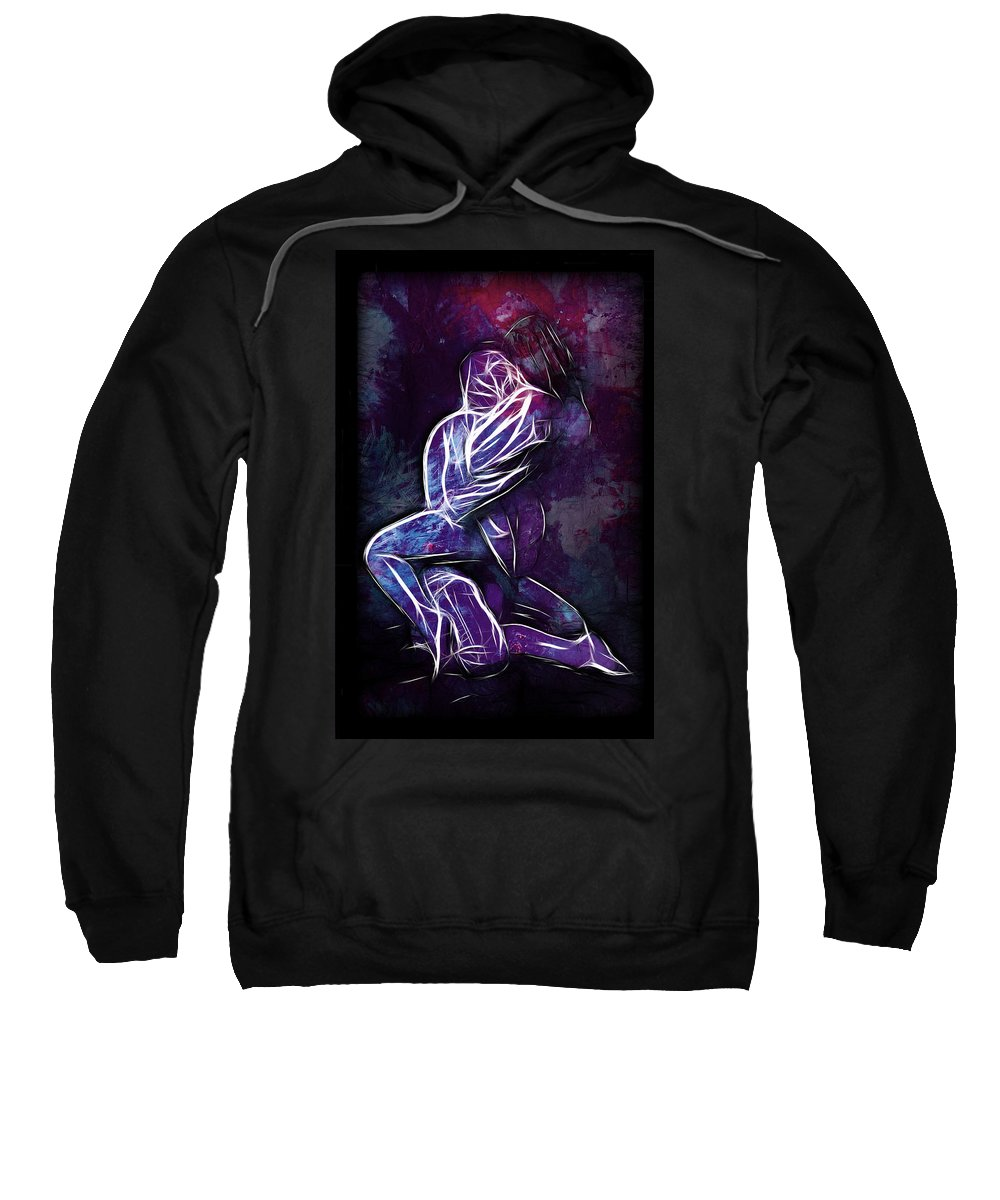 Love Lover Lovers Mircale Couple Sensual Color Colorful Erotic Nude Naked Expresionism Man Woman Girl Boy Female Male Sweatshirt featuring the painting The Miracle Of Love by Steve K