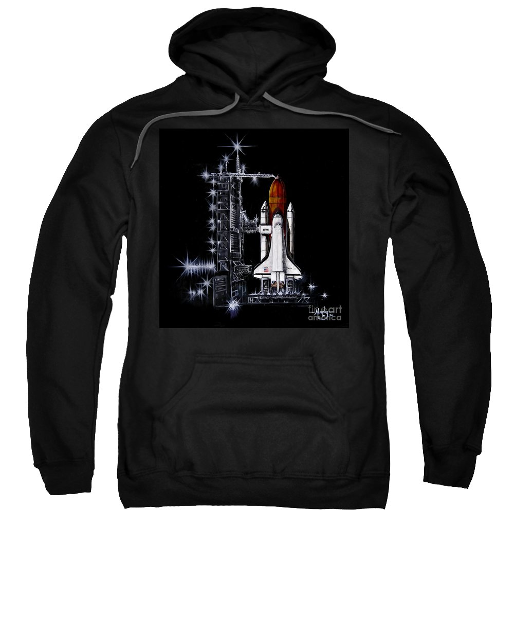 Shuttle Sweatshirt featuring the painting The Night Before by Murphy Elliott