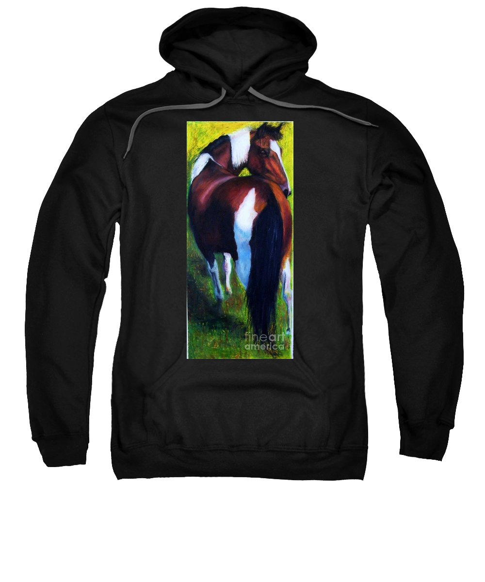 Horses Sweatshirt featuring the painting The Paint by Frances Marino