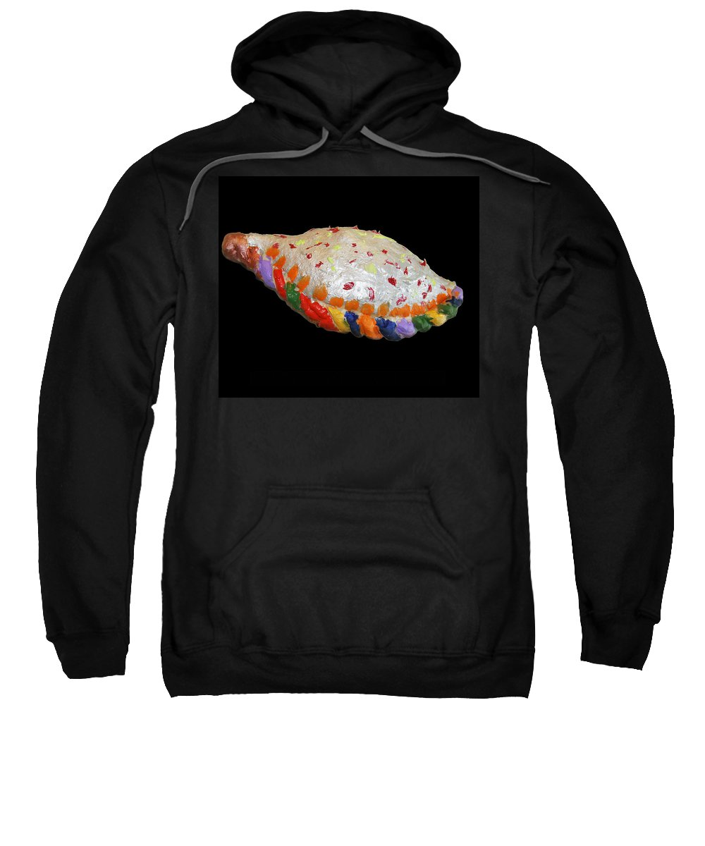 Pizza Sweatshirt featuring the sculpture The Painted Calzone by Bjorn Sjogren