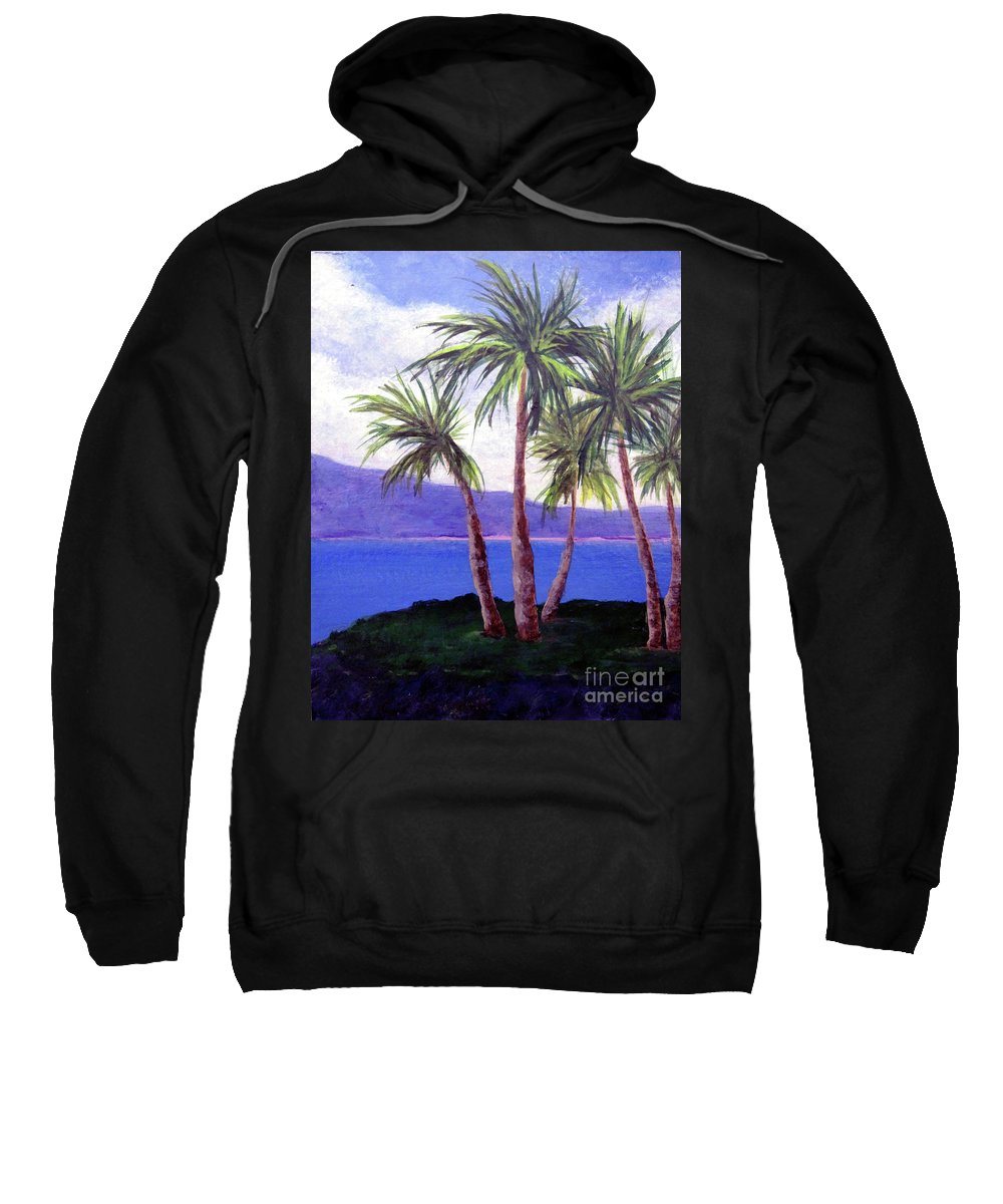 Ocean Sweatshirt featuring the painting The Palms by Susan Plenzick