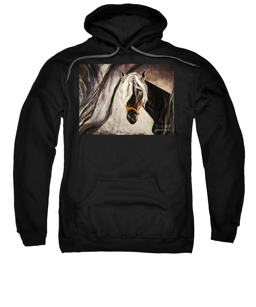 Horses Sweatshirt featuring the painting The Performer by Gina De Gorna