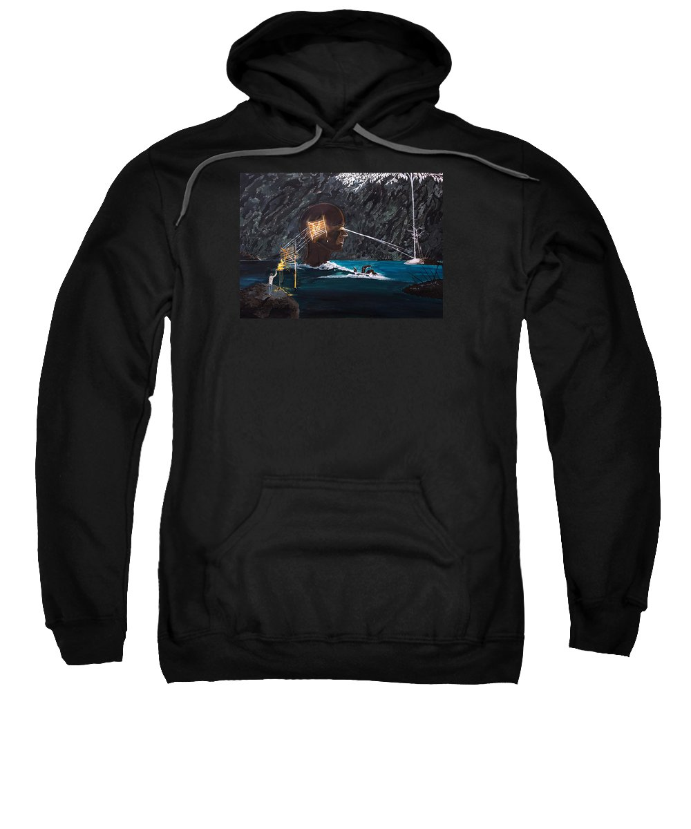 Surreal Sweatshirt featuring the painting The Projection Of Thought And Mind On Reality by Lazaro Hurtado