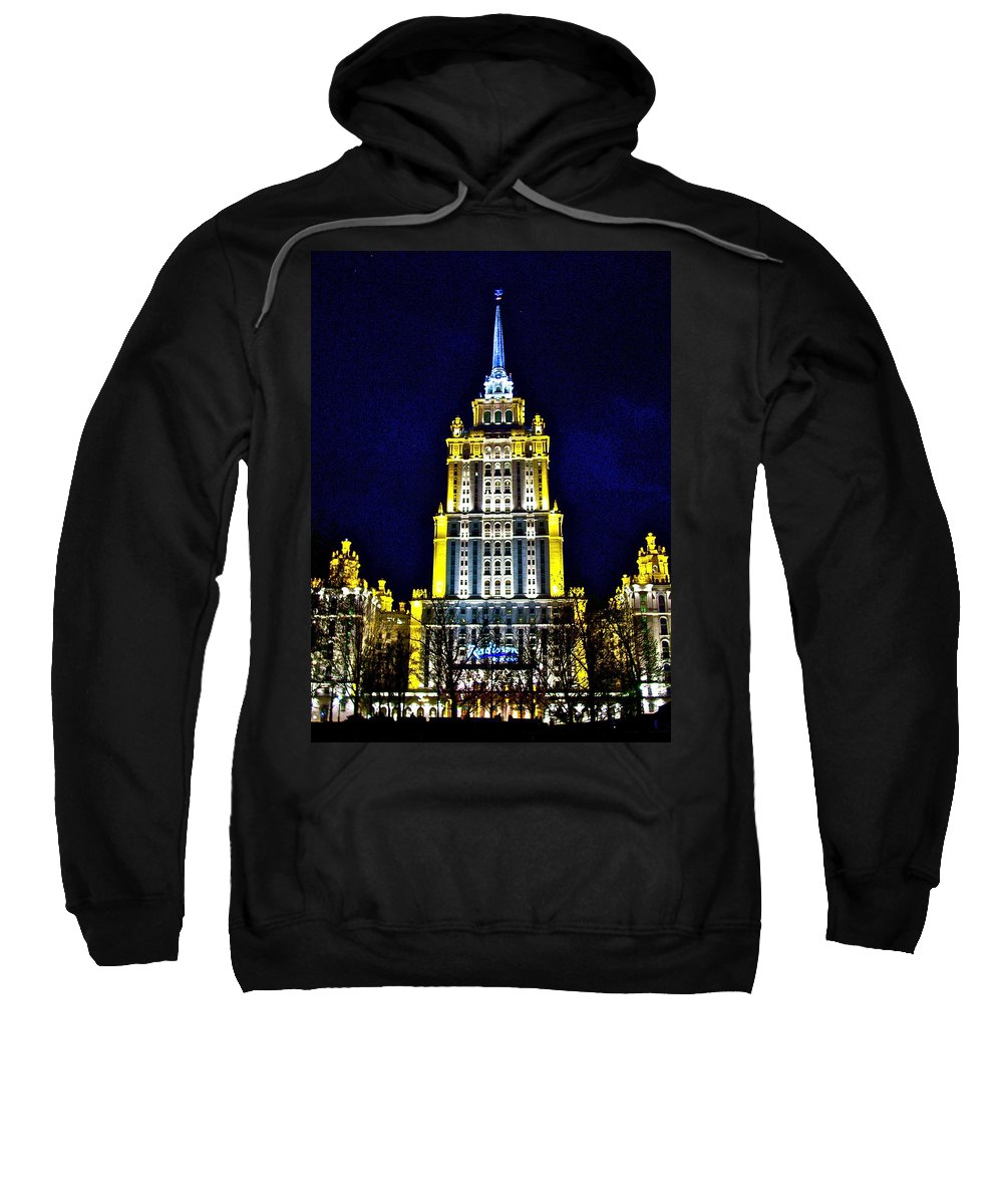 The Raddison-stalin's Wedding Cake Architecture-in Moscow Sweatshirt featuring the photograph The Raddison-stalin's Wedding Cake Architecture-in Moscow-russia by Ruth Hager