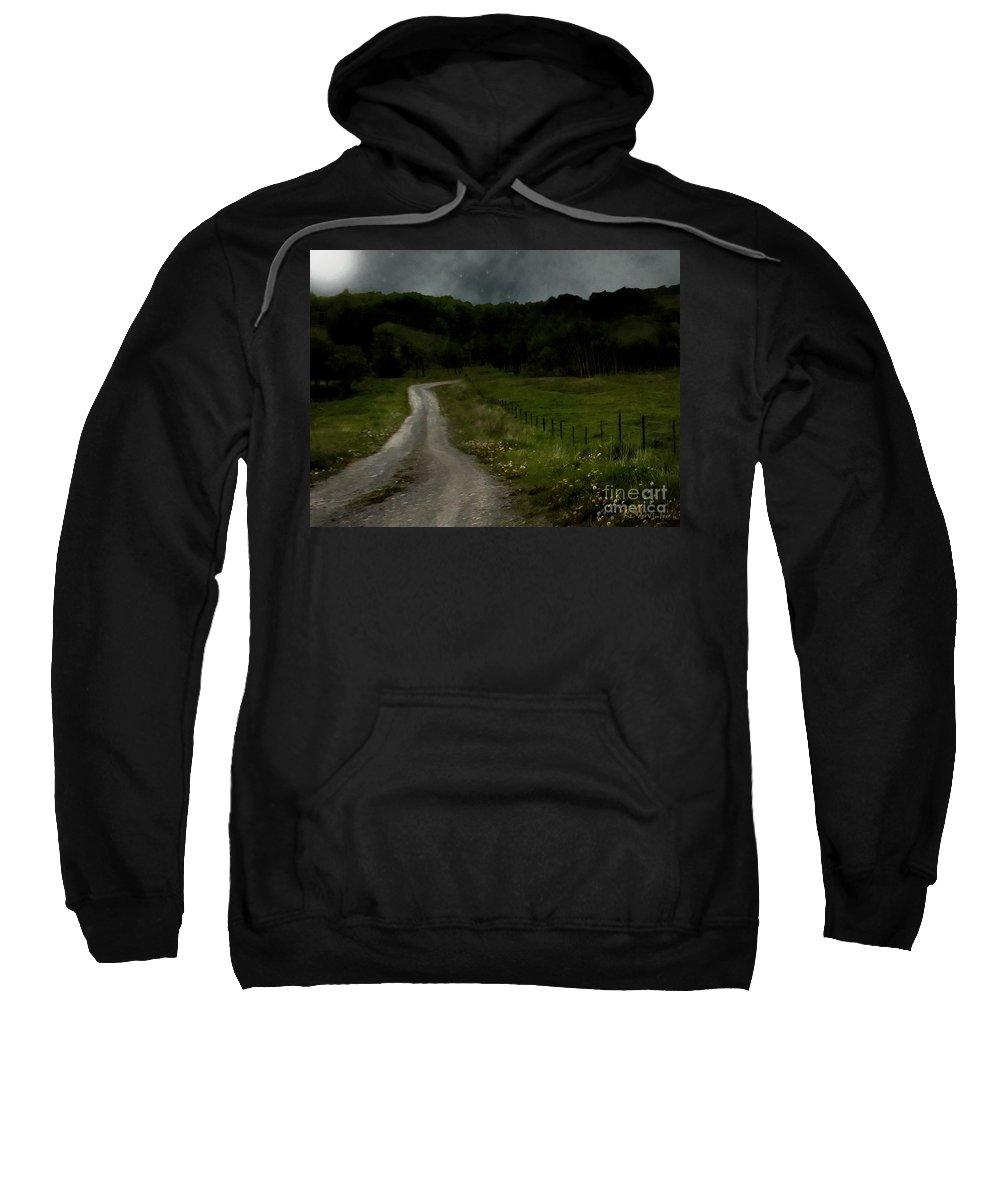 Fields Sweatshirt featuring the painting The Road Home by RC DeWinter