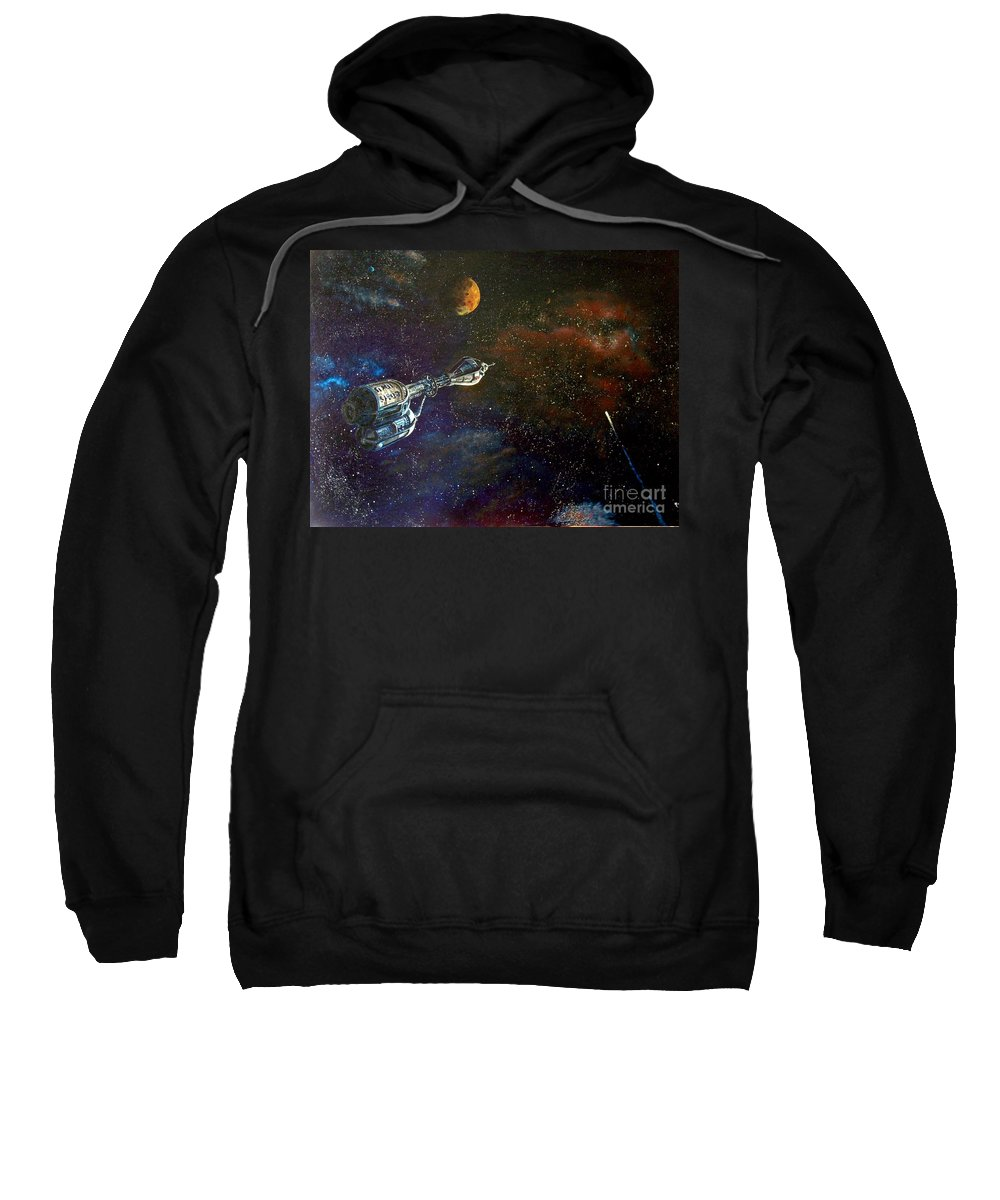 Vista Horizon Sweatshirt featuring the painting The Search For Earth by Murphy Elliott