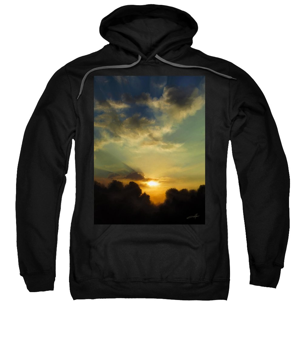 Sunset Sweatshirt featuring the digital art The Setting Sun by Dale Jackson