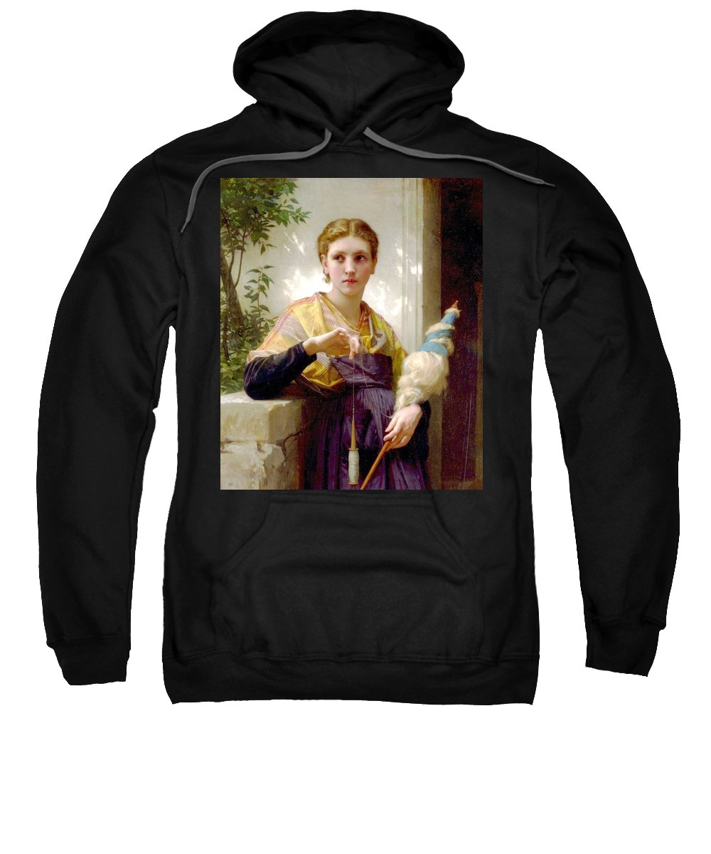 The Spinner Sweatshirt featuring the digital art The Spinner Detail by William Bouguereau