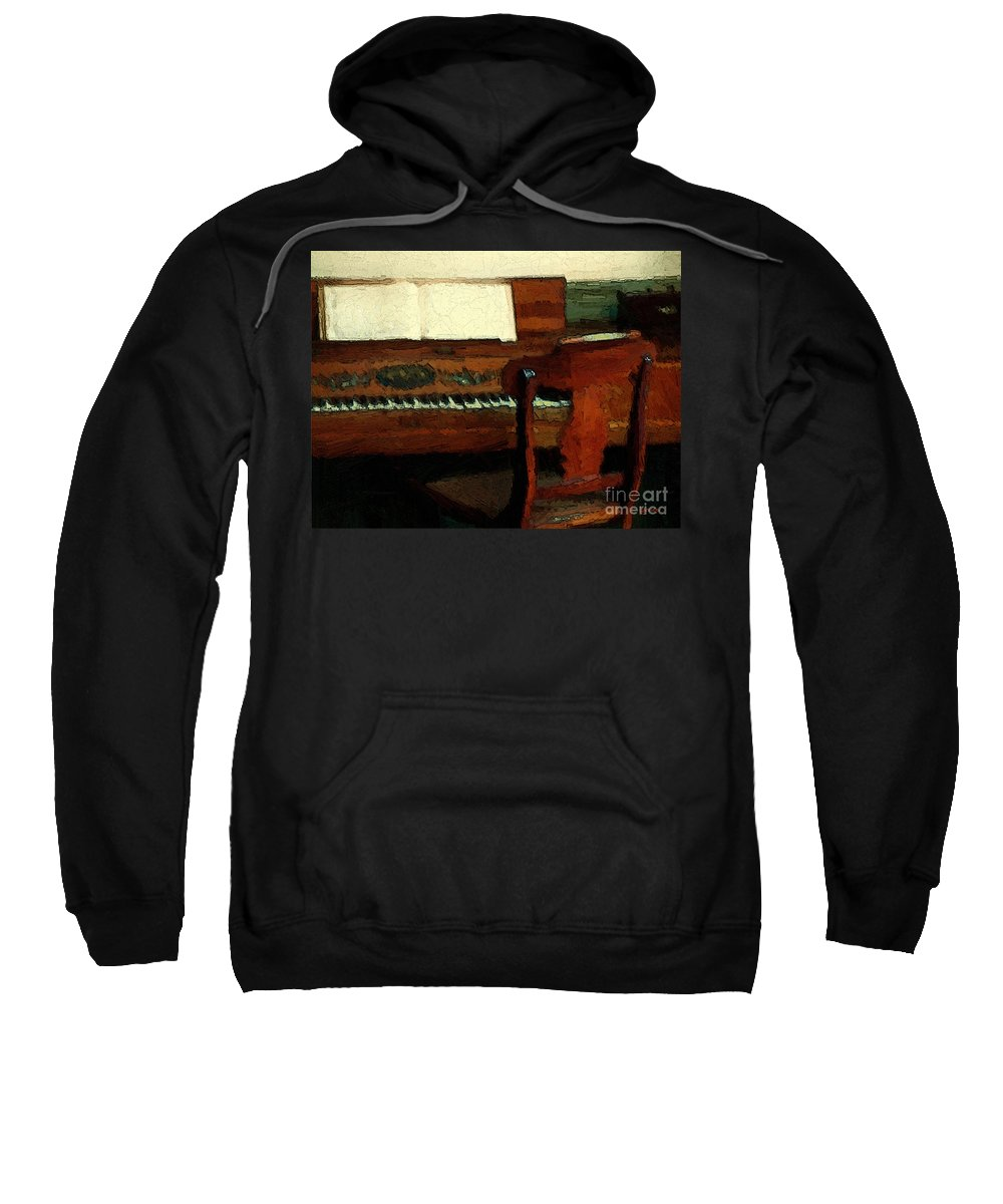 Colonial Sweatshirt featuring the painting The Square Piano by RC DeWinter