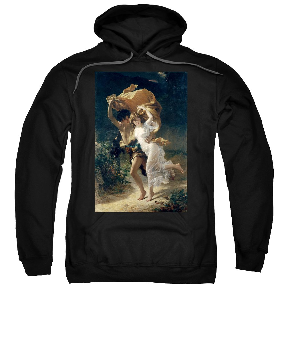 Storm Sweatshirt featuring the painting The Storm by Pierre Auguste Cot