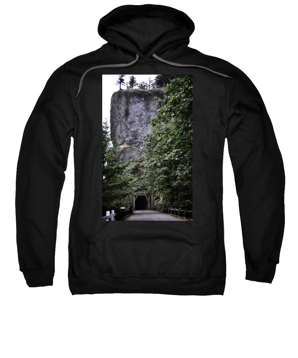 Multnomah Scenic Route Sweatshirt featuring the photograph The Tunnel Below The Rock by Image Takers Photography LLC - Laura Morgan