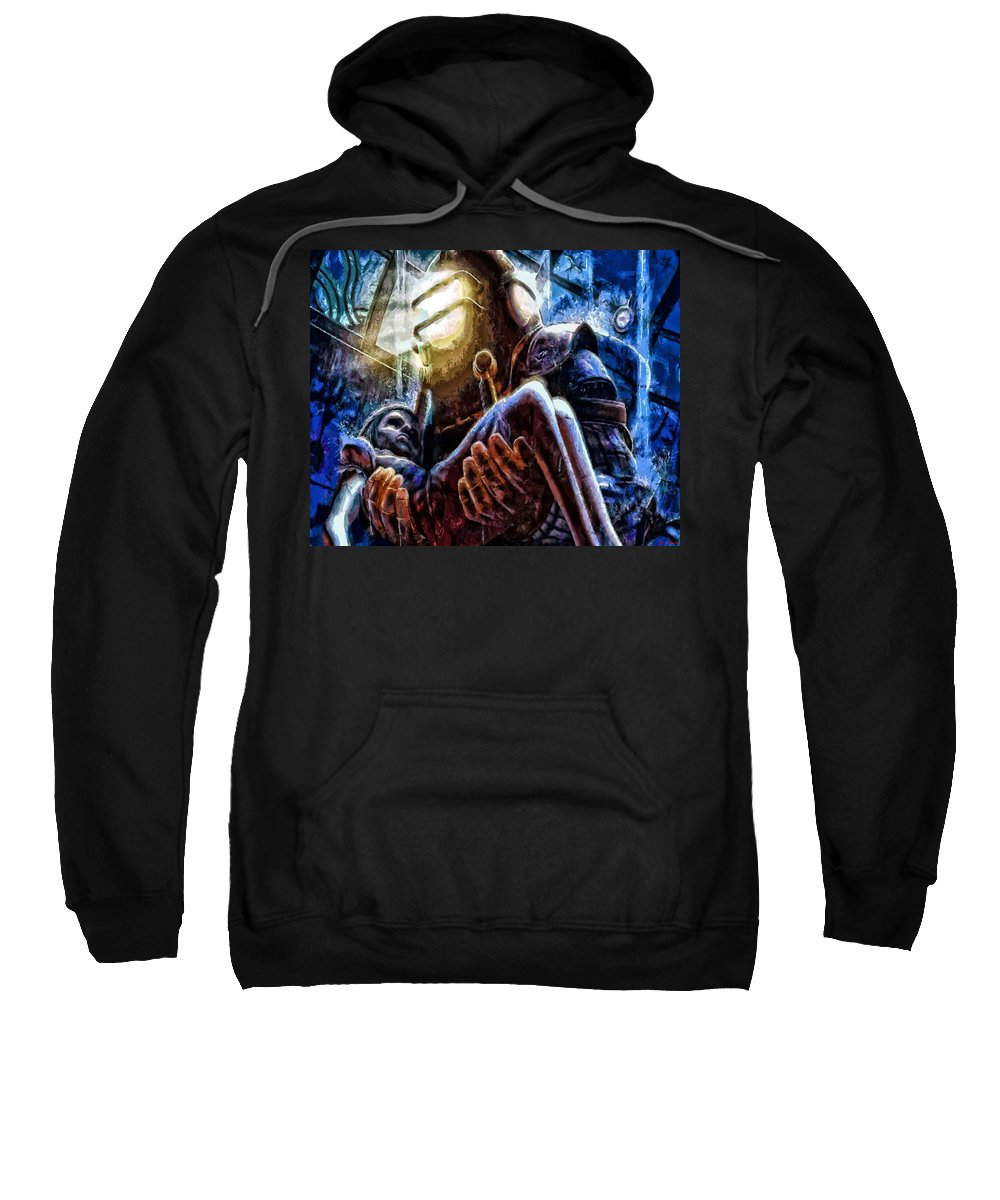 Midnight Streets Sweatshirt featuring the painting The Watchful Protector by Joe Misrasi