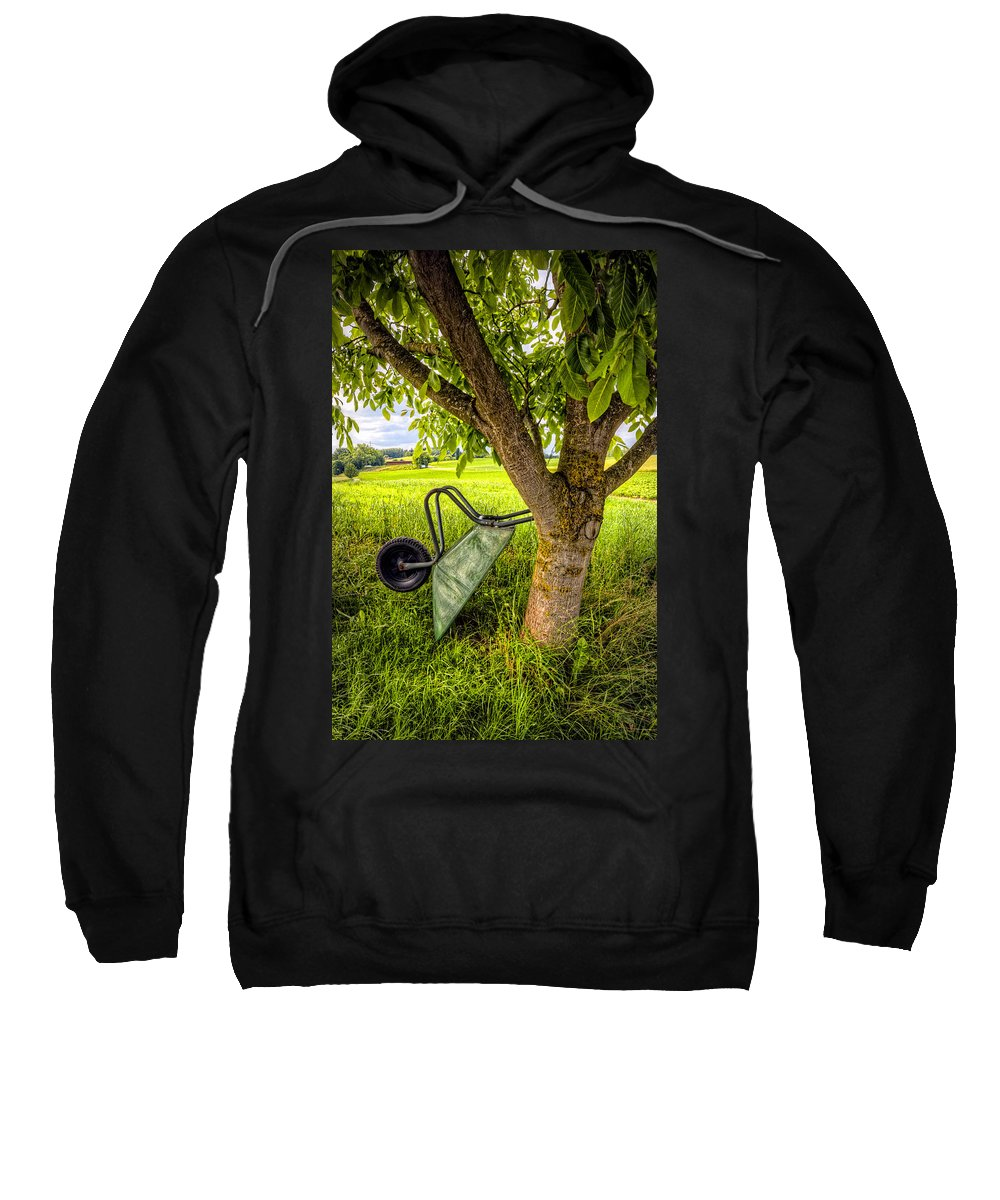 Appalachia Sweatshirt featuring the photograph The Wheelbarrow by Debra and Dave Vanderlaan