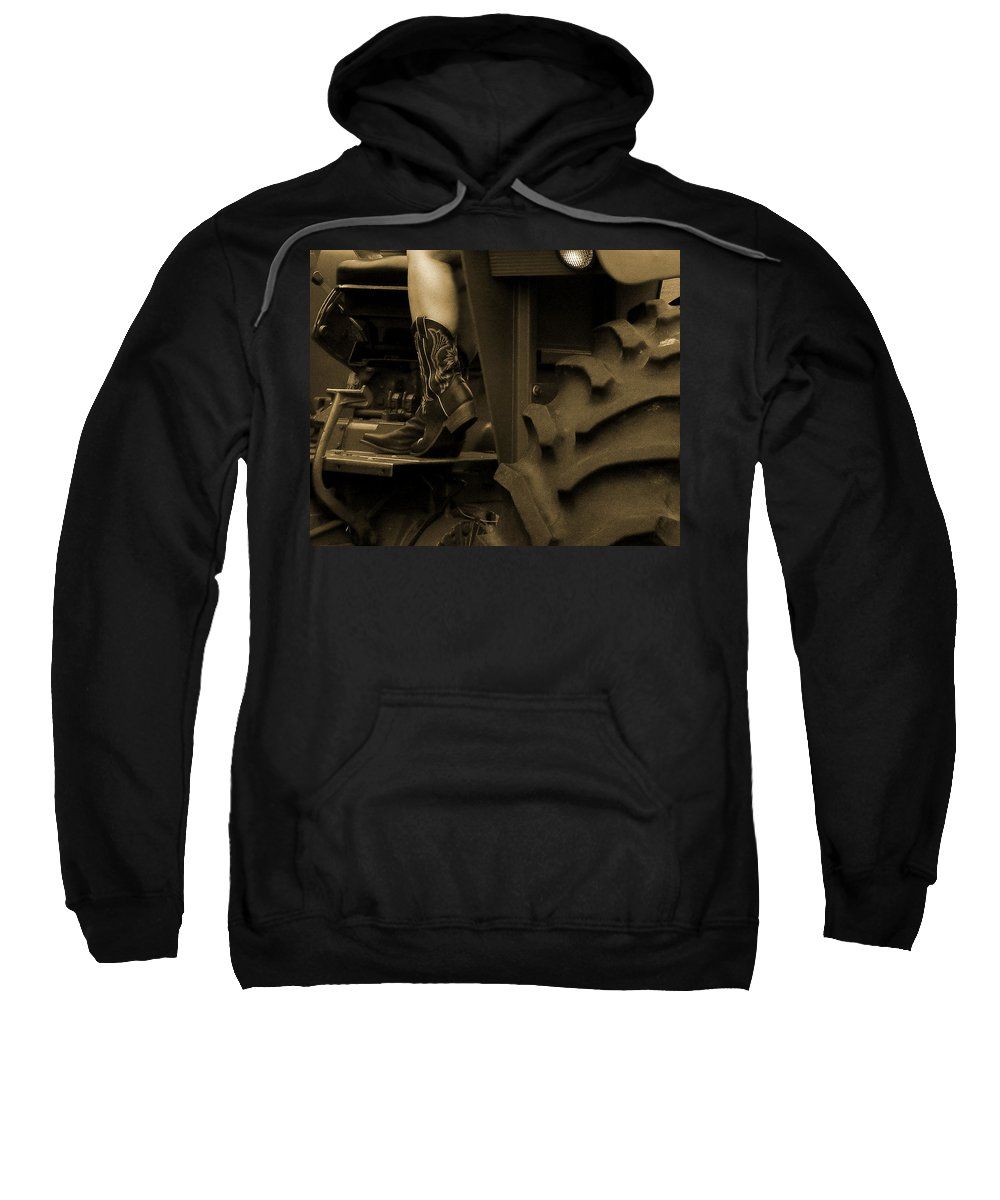 Cowboy Boots Sweatshirt featuring the photograph These Boots 1 Sepia by Sarah Lamoureux