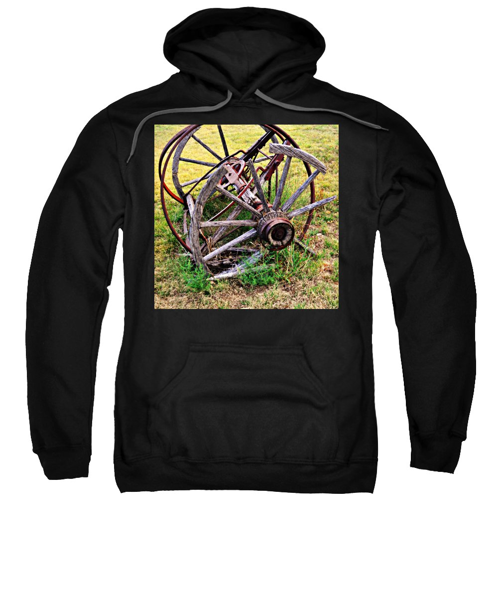 An Old Piece Of Farm Equipment Is Slowly Returning To Nature In The Ozarks Of Missouri. Sweatshirt featuring the photograph Thrasher Past by Marty Koch