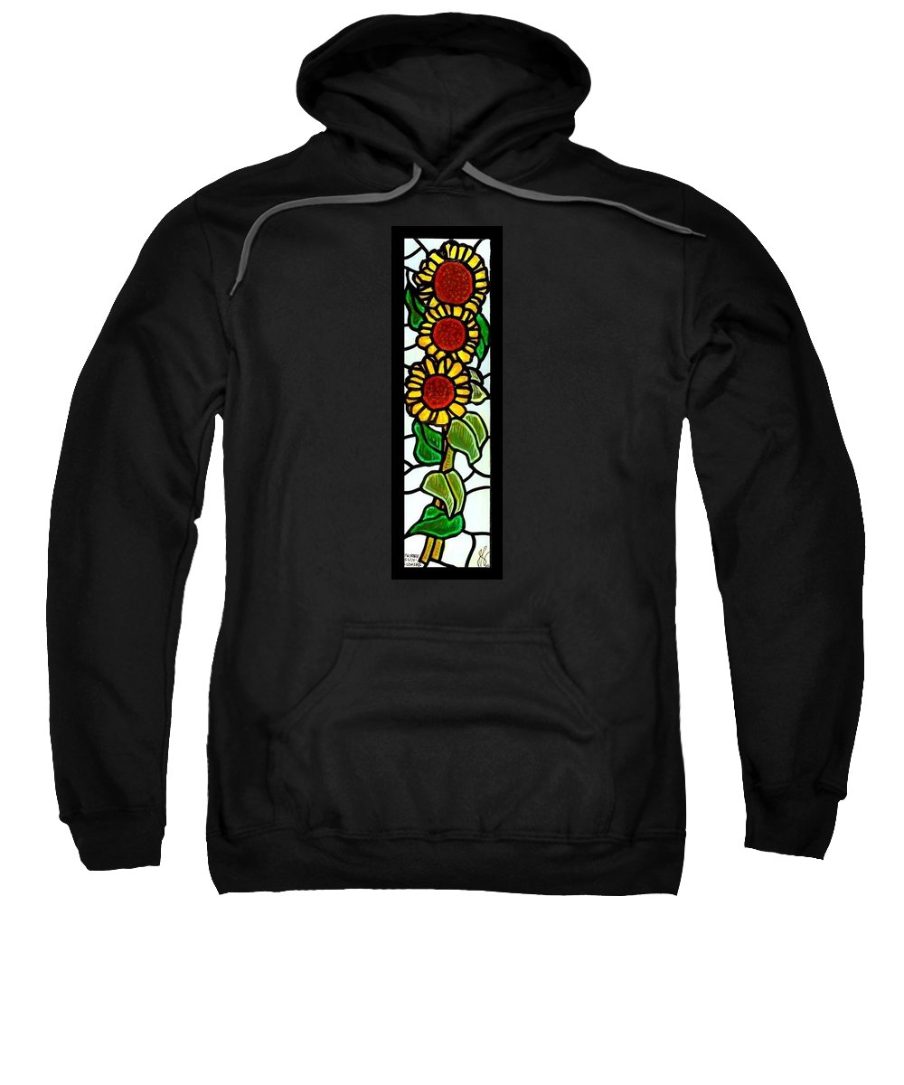 Sunflowers Sweatshirt featuring the painting Three Sunflowers by Jim Harris