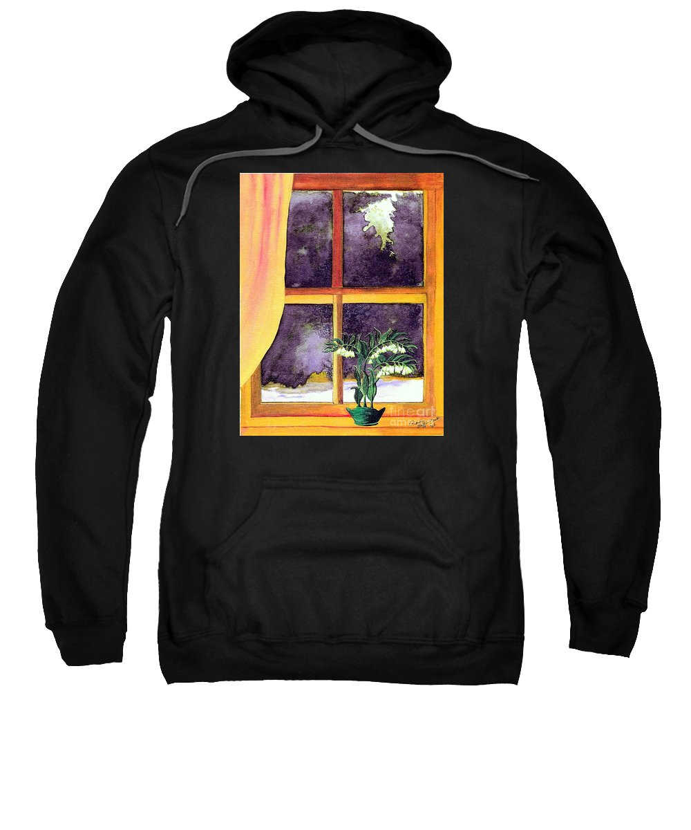 Fine Art Sweatshirt featuring the painting Through The Window by Patricia Griffin Brett