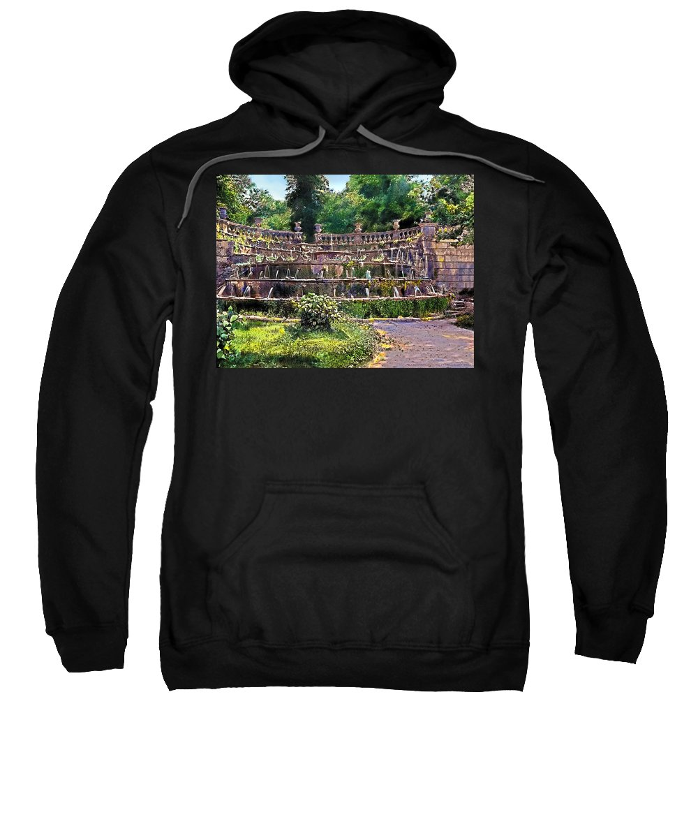 (8276426); Tiered Fountain Painting - Vintage Sweatshirt featuring the painting Tiered Fountain by Terry Reynoldson