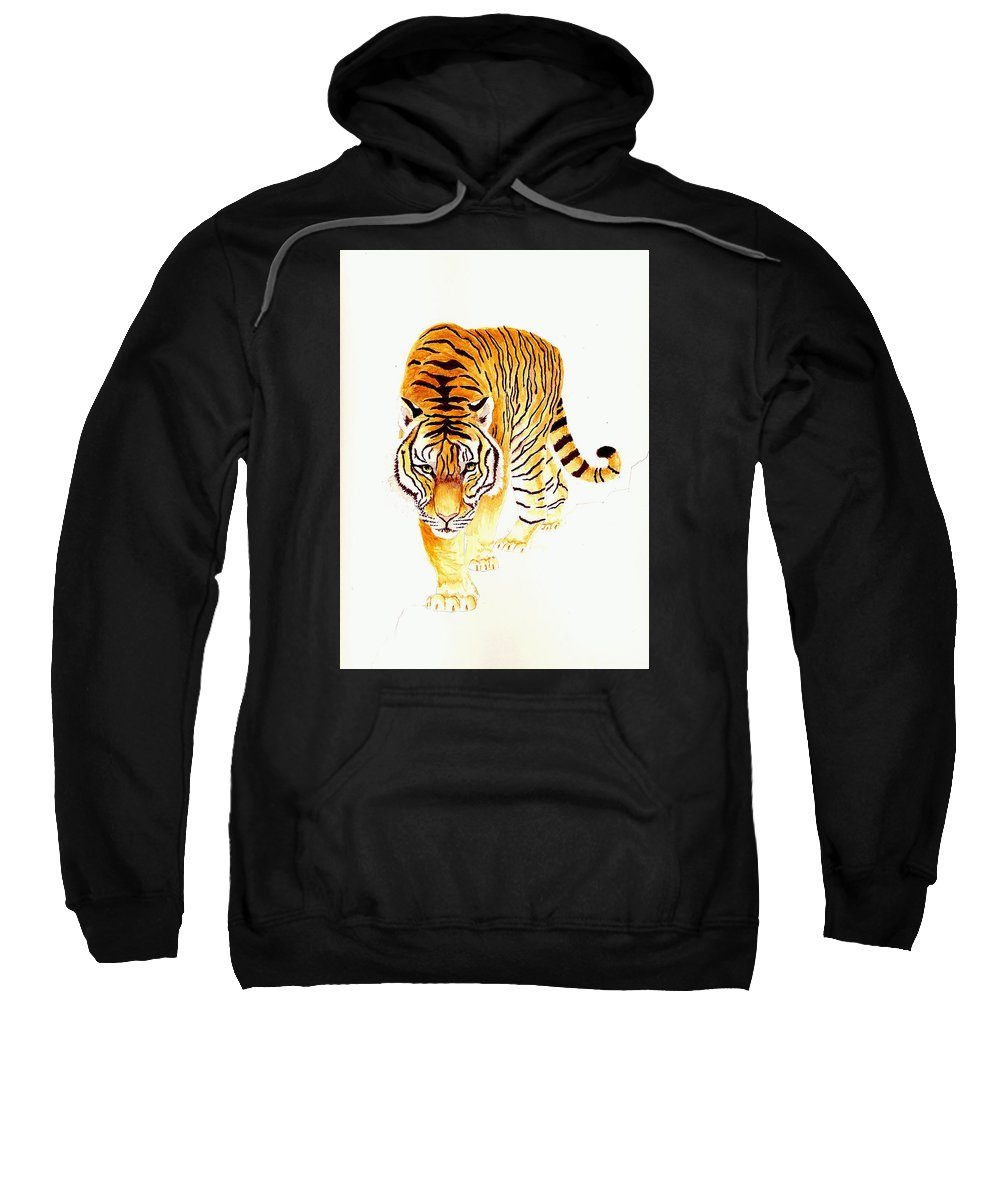 Tiger Sweatshirt featuring the painting Tiger by Michael Vigliotti