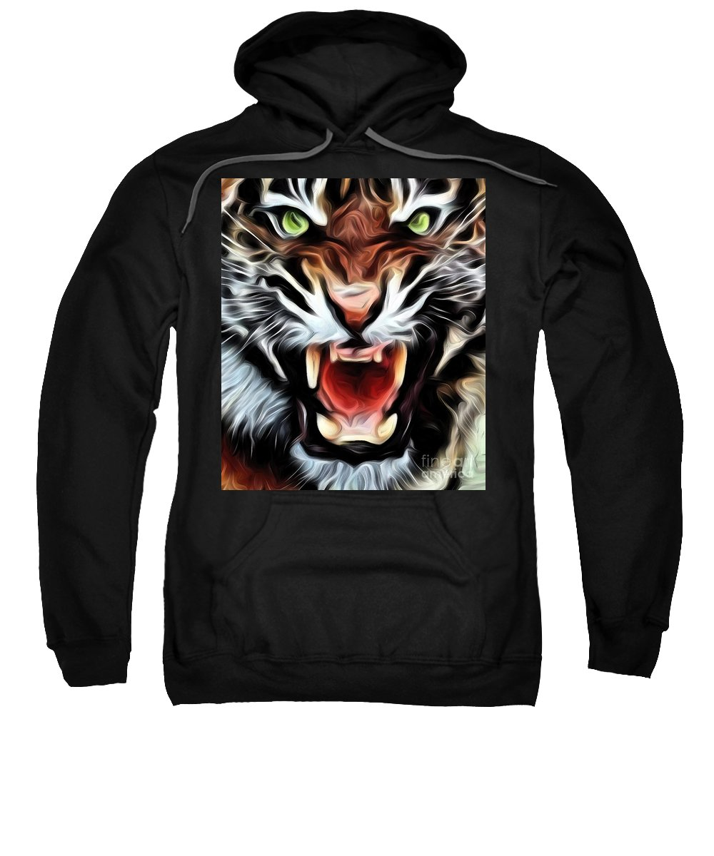 Nature Sweatshirt featuring the painting Tiger Watercolour by Brian Raggatt