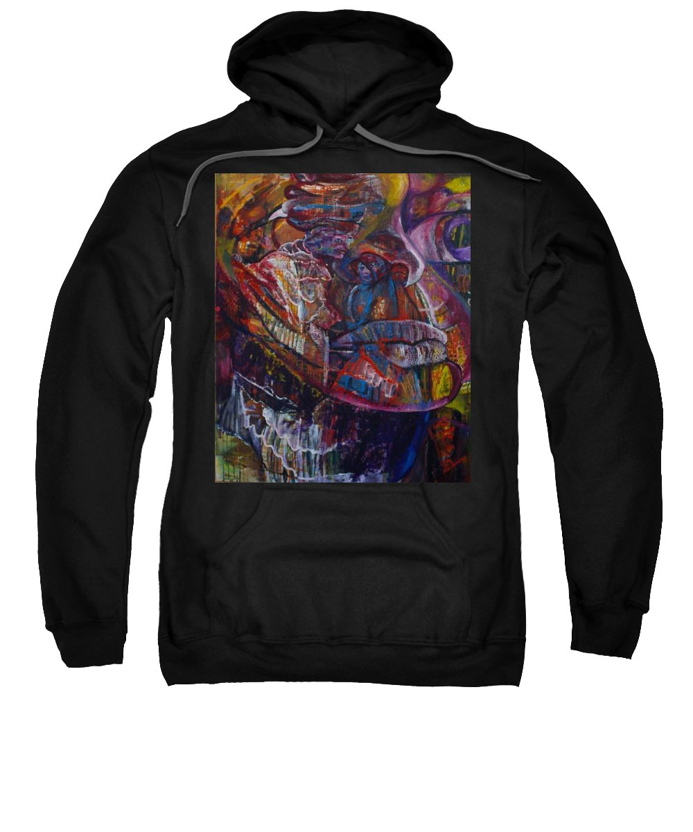 African Women Sweatshirt featuring the painting Tikor Woman by Peggy Blood