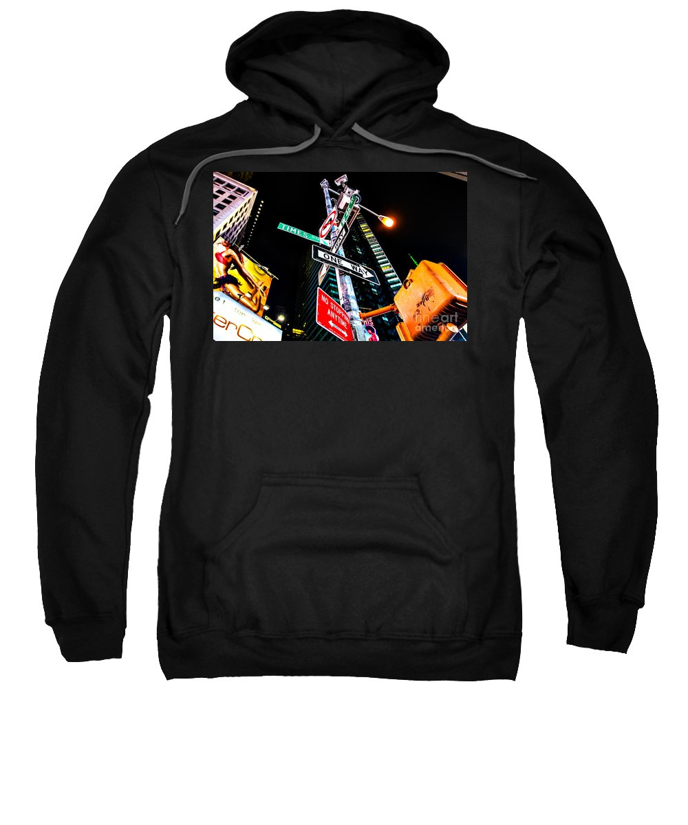 Streets Of New York Sweatshirt featuring the photograph Times Square by Digital Kulprits