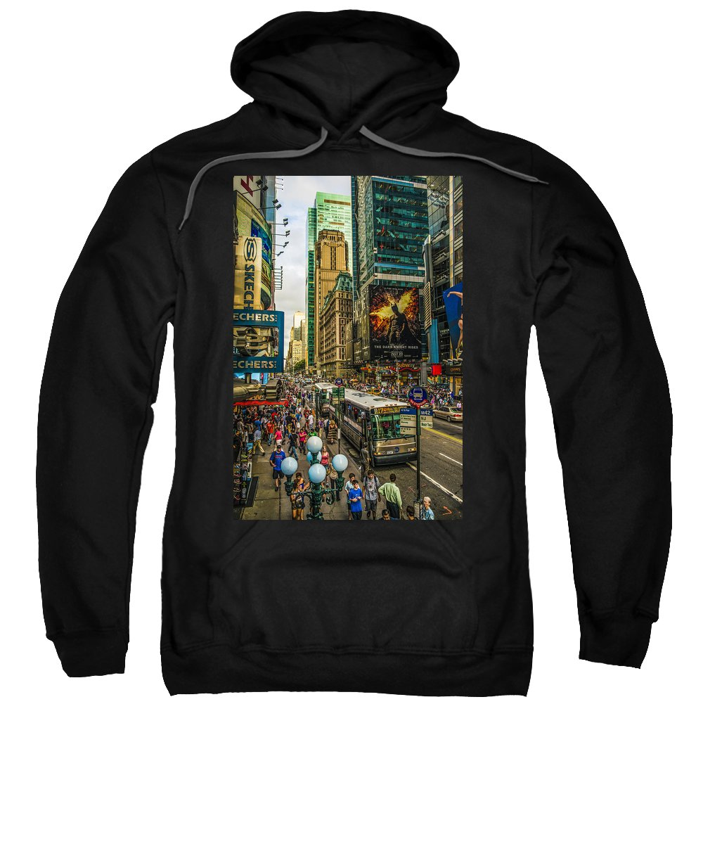 New York Sweatshirt featuring the photograph Times Square by Theodore Jones