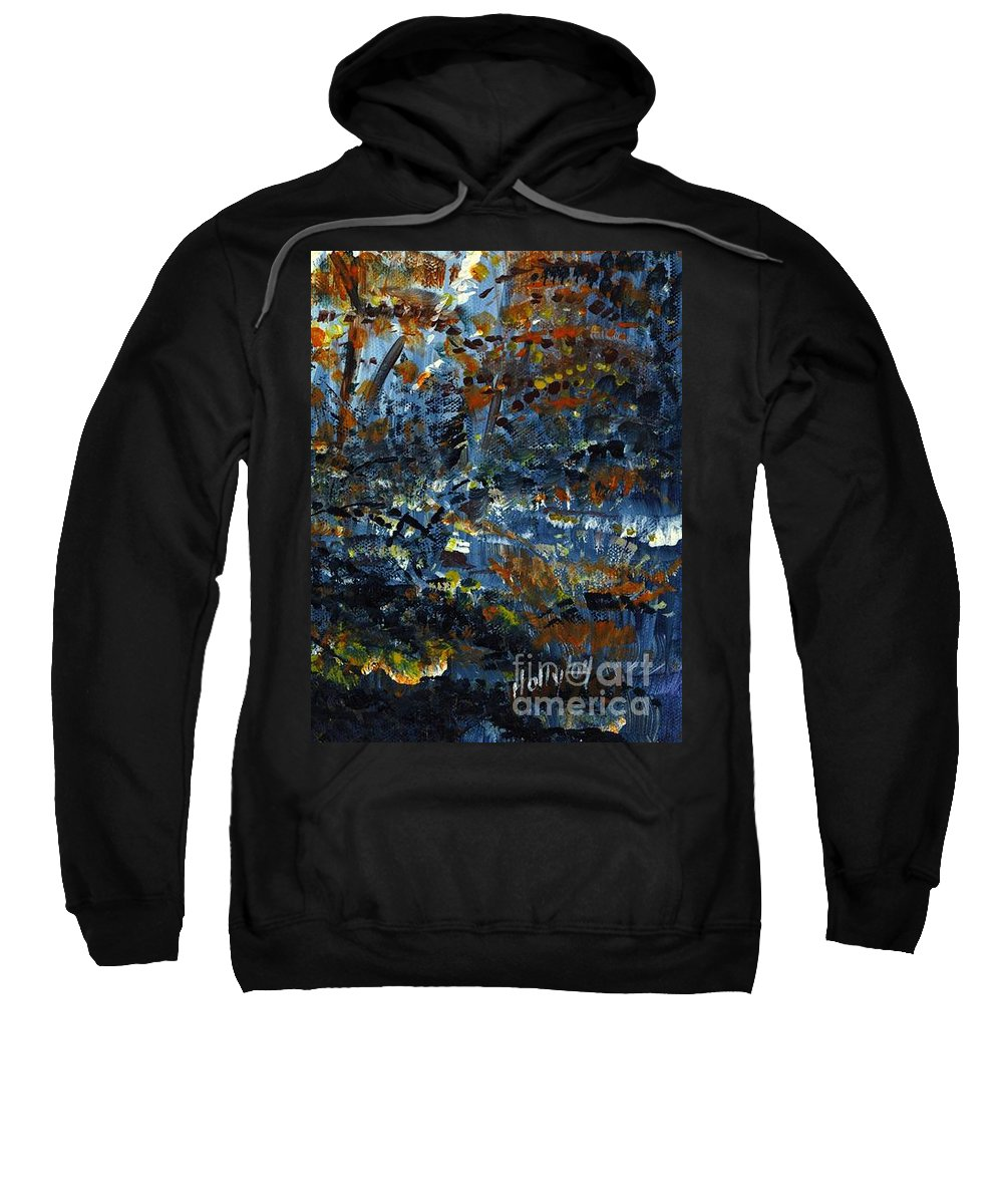 Autumn Sweatshirt featuring the painting Tim's Autumn Trees by Holly Carmichael