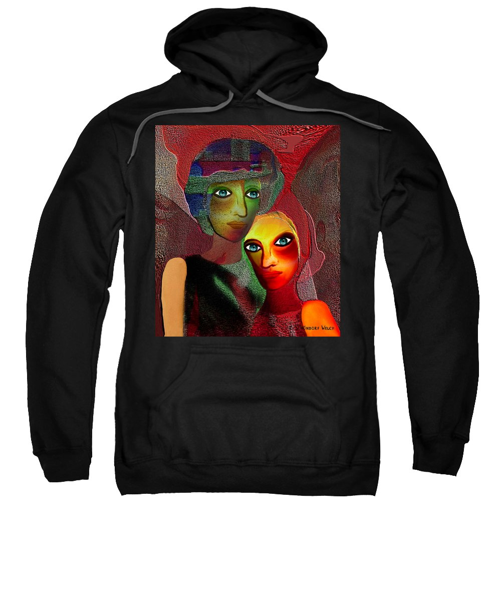 002 Sweatshirt featuring the painting 002 - To Lean On  by Irmgard Schoendorf Welch
