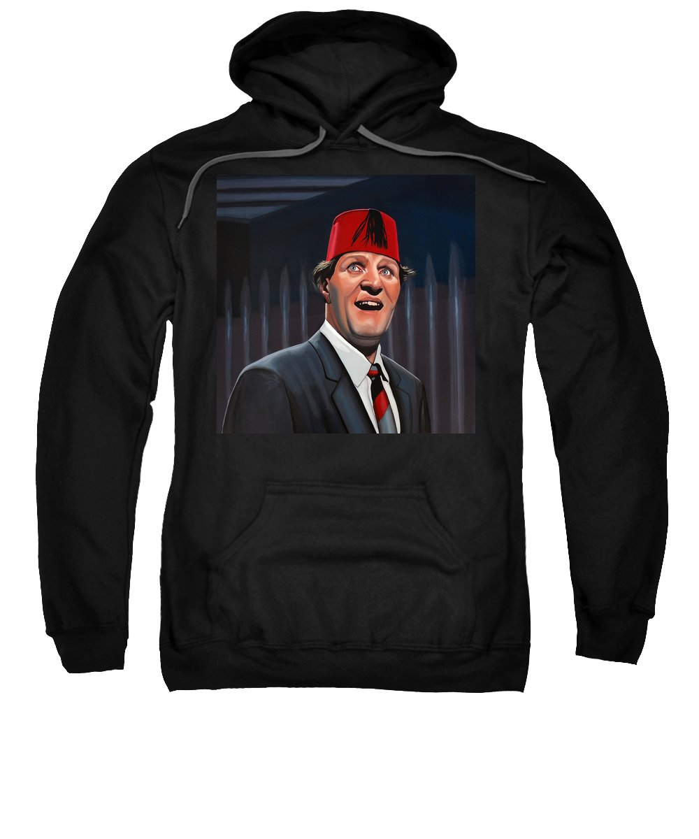 Tommy Cooper Sweatshirt featuring the painting Tommy Cooper by Paul Meijering