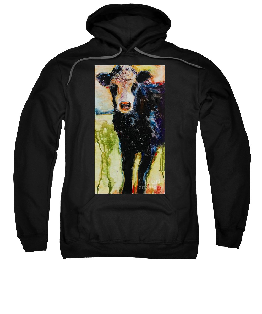 Cow Sweatshirt featuring the painting Top Curl by Molly Poole